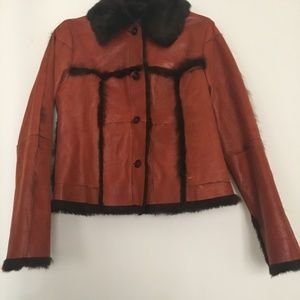 Brandon Thomas rabbit leather jacket Size S